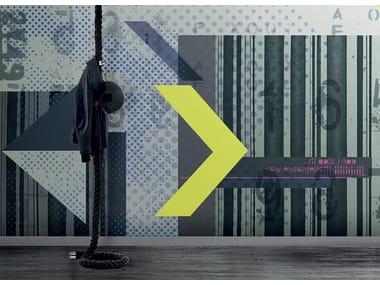 Papel de parede geométrico lavável de material sintético estilo moderno com listrado PAESAGGIO CUBYSTA