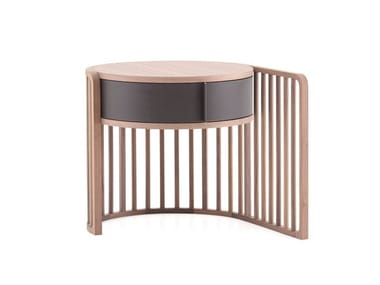 Round wooden bedside table with drawers PALÙ   Bedside table