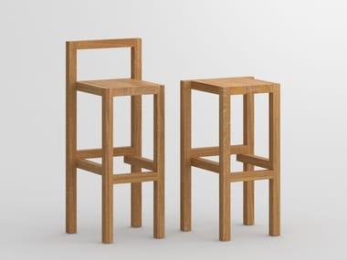 Solid wood barstool with footrest PALI
