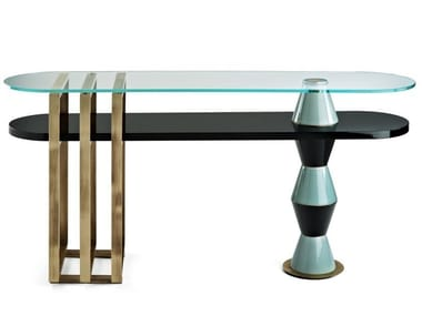 Lacquered oval wooden console table PALM   Console table