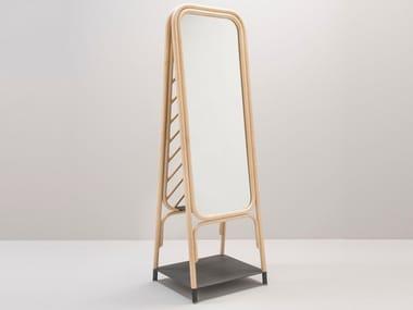 Freestanding rattan mirror with shelf PANÔ | Mirror