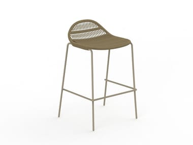 Rope stool with back with footrest PANAMA   Stool