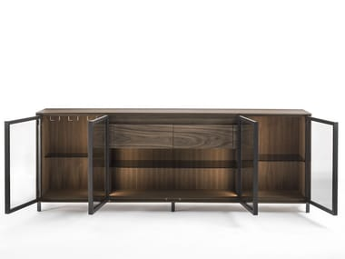 Wood and glass sideboard with integrated lighting PANDORA GLASS