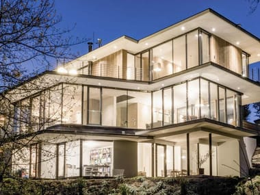 Sliding aluminium and wood glass facade PANORAMA HX 300