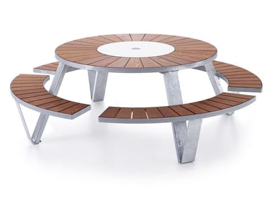 Round picnic table with integrated benches PANTAGRUEL PICNIC