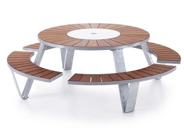 Tavolo da picnic rotondo con panchine integrate PANTAGRUEL PICNIC