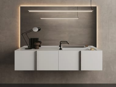 Wall-mounted vanity unit with doors PARAL