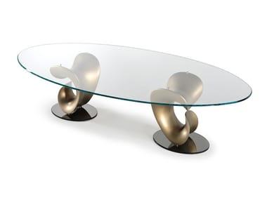 Tavolo da pranzo ovale in vetro PARENTESIS | Tavolo