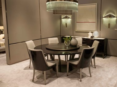 Lacquered Round Wooden Table With Lazy Susan PARIS | Table With Lazy Susan