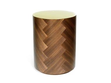 Mesa de centro alta redonda de folheado de madeira PARQ LIFE | Mesa de centro alta