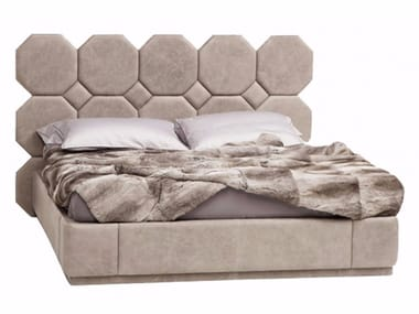 Leather double bed with upholstered headboard PASCAL | Bed