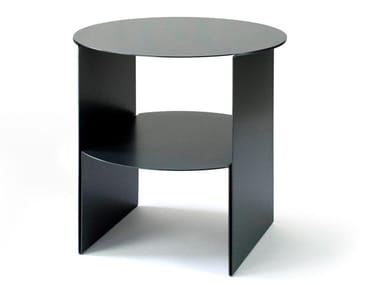 Round plate coffee table with integrated magazine rack PASSAGE | Plate coffee table