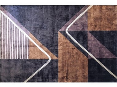 Handmade rectangular rug with geometric shapes PATHWAY