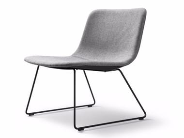 Sled base upholstered fabric chair PATO LOUNGE | Sled base chair