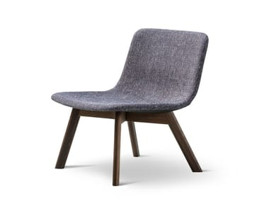 Upholstered fabric easy chair PATO LOUNGE WOOD BASE | Fabric easy chair