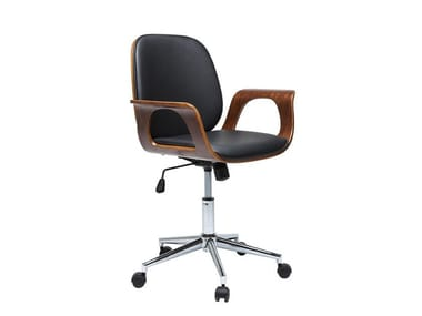 Swivel task chair with 5-Spoke base with armrests PATRON WALNUT