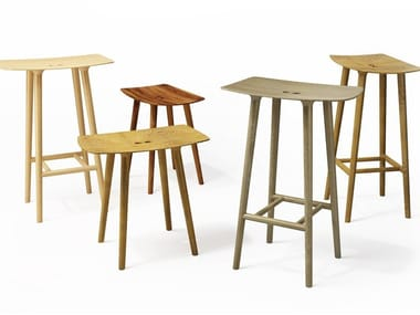 Solid wood barstool with footrest PAUL | Solid wood stool