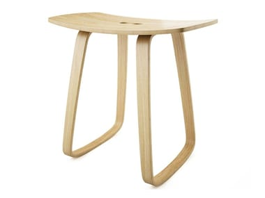Contemporary style rocking plywood stool PAULA | Rocking stool