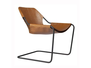 Cantilever leather easy chair PAULISTANO LEATHER