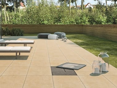 Outdoor system of tiles with vertical interlocking joint PAVE AND GO OUTDOOR
