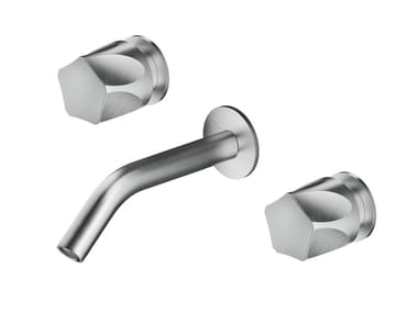 Wall-mounted stainless steel washbasin mixer with individual rosettes PE287 | Washbasin mixer