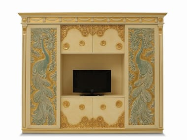Freestanding lacquered wooden TV wall system PEACOCKS
