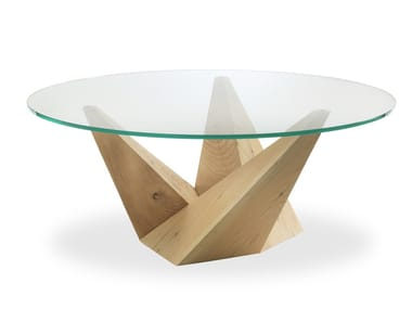 Round wood and glass table PEAK