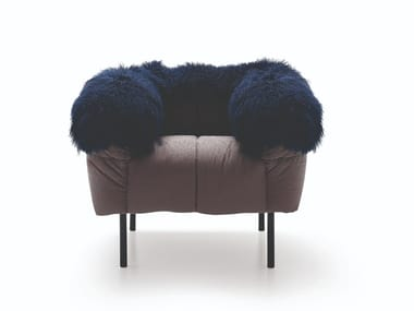 Upholstered fur armchair with armrests PECORELLE | Armchair
