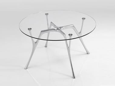 Round glass and steel table PEGASO | Round table