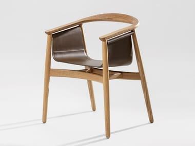 Chaise en bois massif avec accoudoirs PELLE