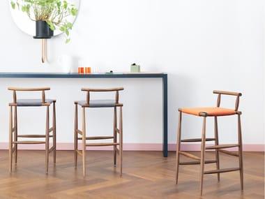 High wooden stool PELLEOSSA | Stool