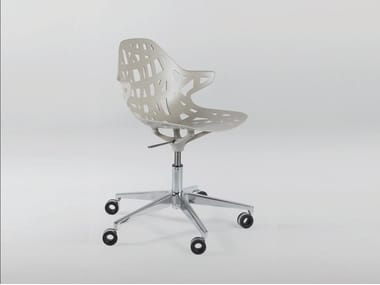 Contemporary style height-adjustable aluminium chair with 5-spoke base with casters PELOTA DESK