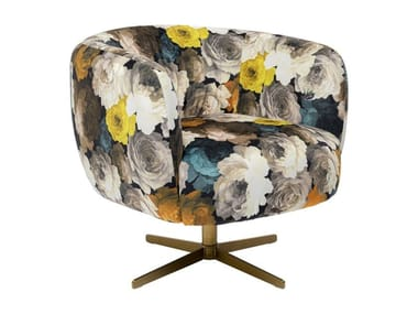 Swivel fabric armchair with 4-spoke base with armrests PEONY | Armchair with armrests