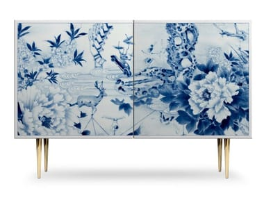 Lacquered sideboard with doors PEONY PLAY | Sideboard