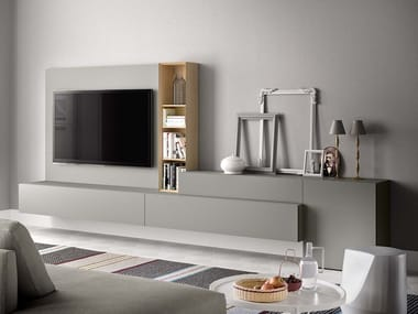 Lacquered TV wall system PEOPLE P214