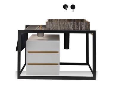 Floor-standing single steel vanity unit PERÍMETRO   Floor-standing vanity unit
