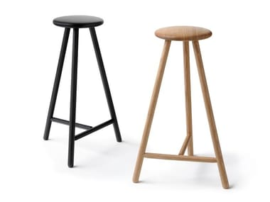 Wooden stool with footrest PERCH