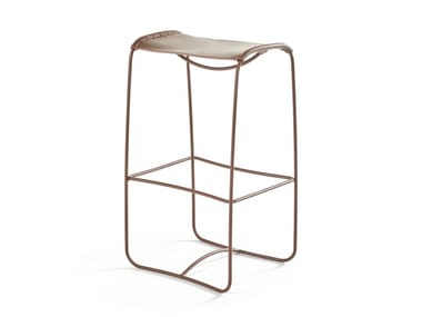 High sled base leather stool PERCHING | High stool