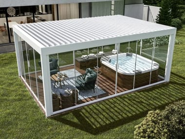Aluminium pergola with sliding cover with built-in lights Pergocasa® FIRST