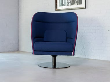 Upholstered trestle-based fabric armchair PESA
