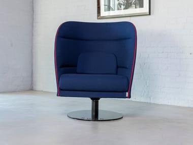 Upholstered trestle-based fabric armchair PESA