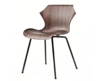 Steel and wood chair PETAL | Chair