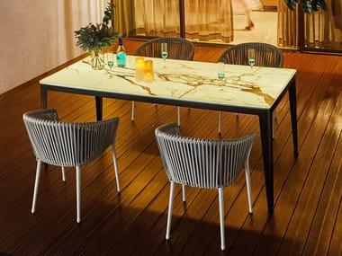 Rectangular ceramic garden table PETAL II