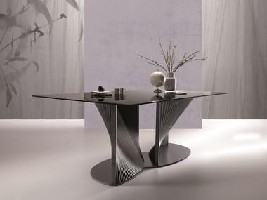 Rectangular glass table PETAL