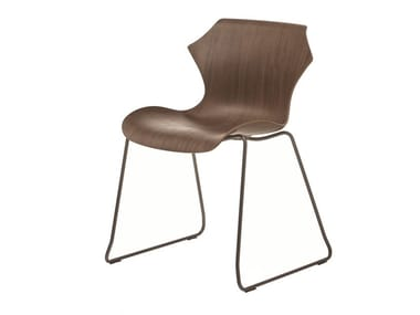 Sled base stackable steel and wood chair PETAL | Sled base chair