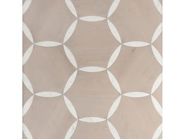Carrara marble and oak wall/floor tiles PETALI