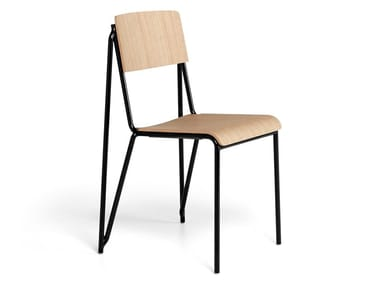 Stackable steel and wood chair PETIT STANDARD