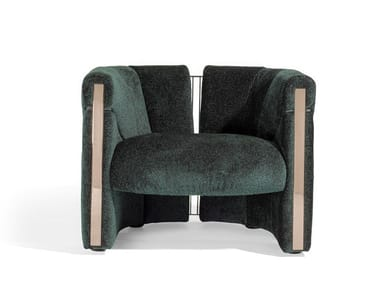 Upholstered fabric armchair with armrests PETRA