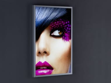 Wall-mounted one-sided Anodized aluminium display unit with light PH01