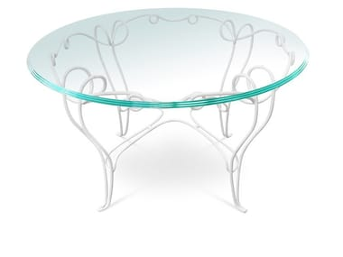 Round glass and iron garden table PHILO | Table